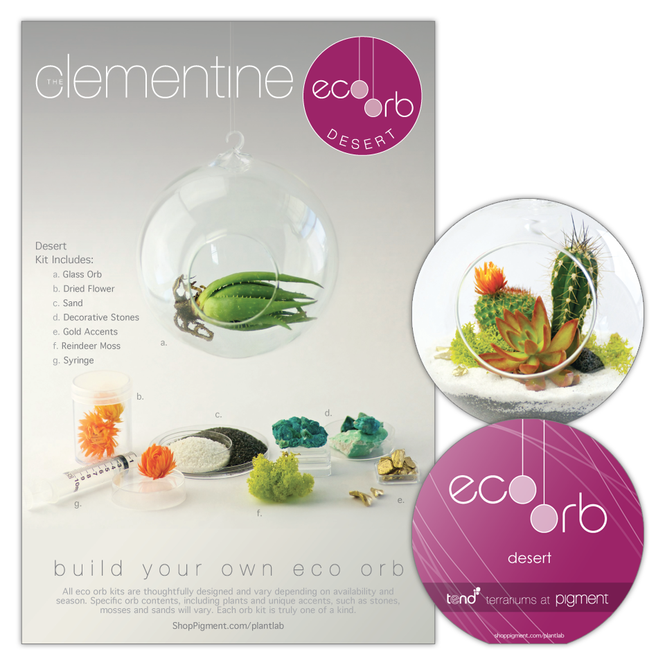Product package design for the build your own eco orb terrarium kits sold at Pigment. Includes a 2-sided box sleeve showing kit contents along with a die-cut orb shape instruction booklet.