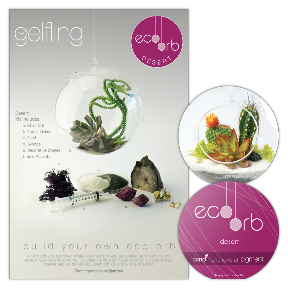 Product package design for the build your own eco orb 'Gelfling' terrarium kits sold at Pigment using desert succulent plants, rocks, sands, and accents. Includes a 2-sided box sleeve showing kit contents along with a die-cut orb shape instruction booklet.