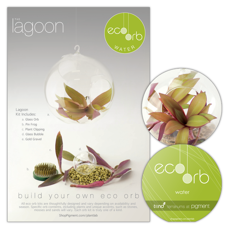 Product package design for the build your own eco orb 'Lagoon' terrarium kits sold at Pigment. Includes a 2-sided box sleeve showing kit contents along with a die-cut orb shape instruction booklet.