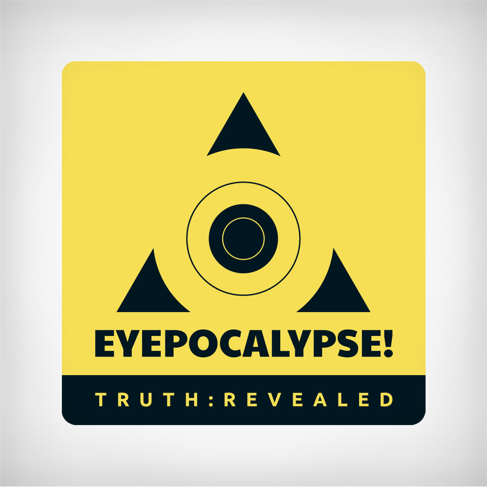 A black and yellow concentric circle target inside of a triangle logo design reminiscent of a hazardous caution warning sign for the EYEPOCALYPSE! MEDIA website at eyepocalypse.com.
