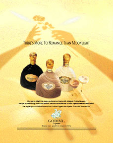 Print ad campaign for Godiva chocolate liqueurs released across major consumer publications nationwide.