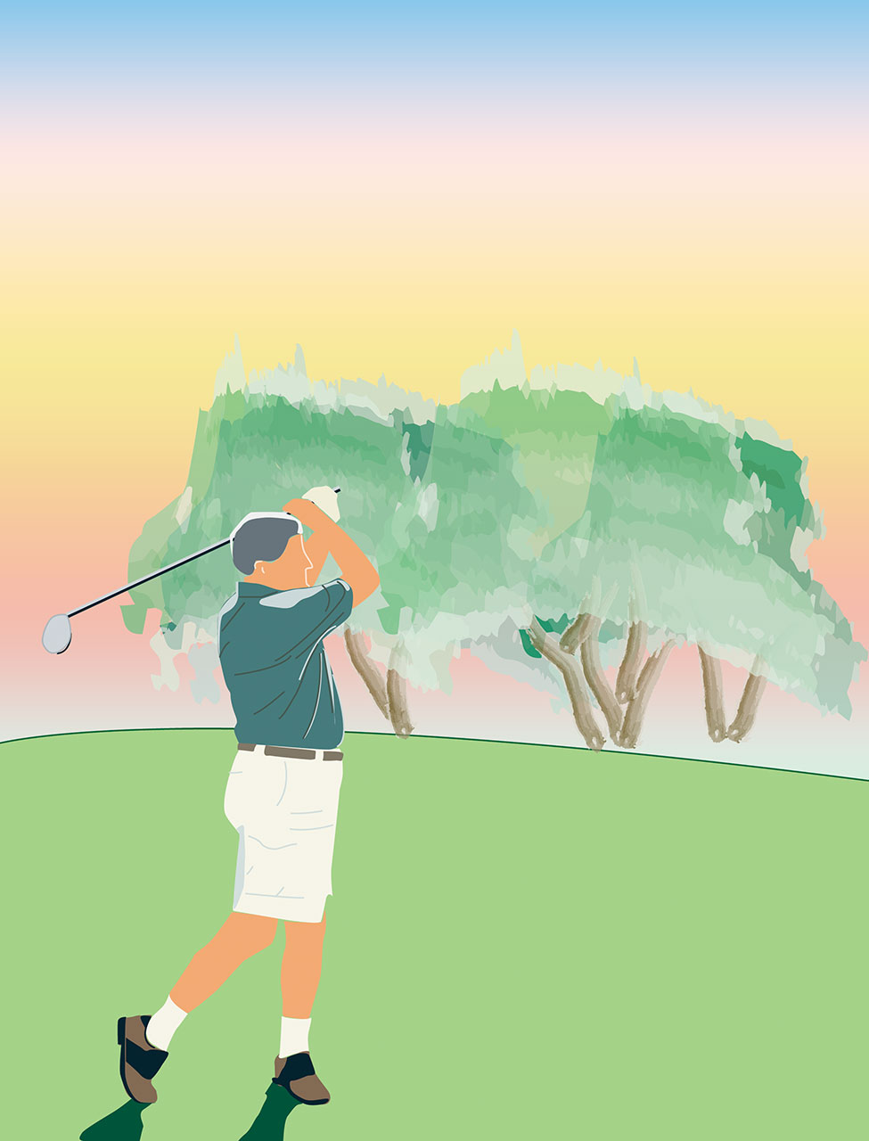 A vector illustration of a golfer on a golf course used in a concept pitch design for a retirement community marketing project.