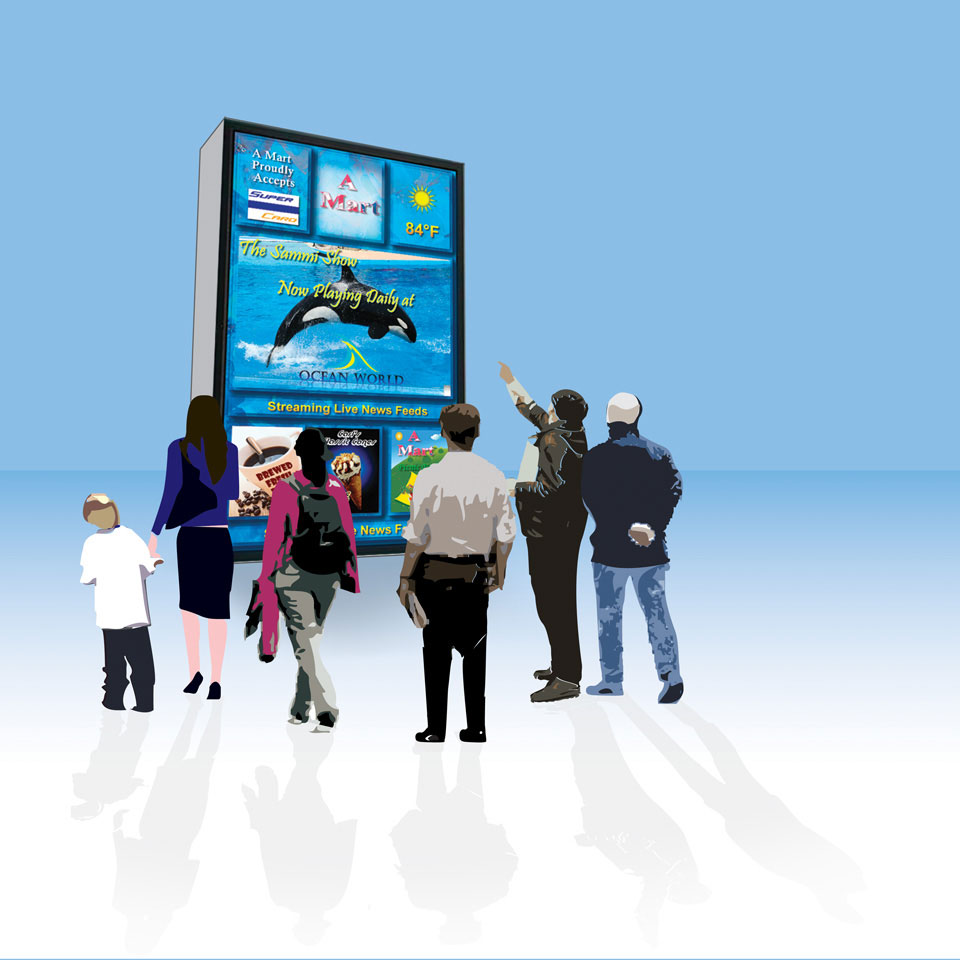 A graphic illustration showing people viewing and interacting with a Digital Signage Display used in a marketing media sales package for a digital advertising company.