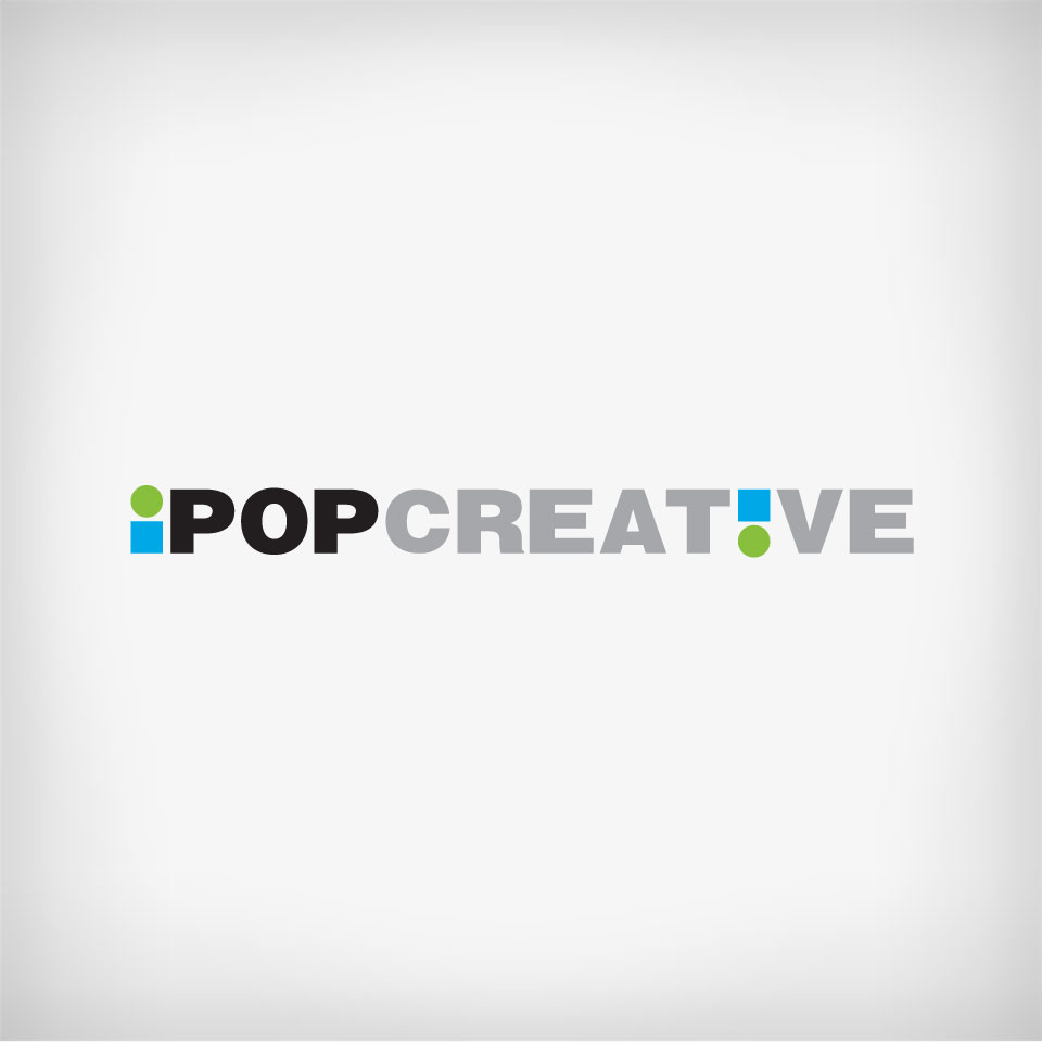 An expressive logo design and color theme using a green circle and a blue square to form the 'i' in iPop and also as an exclamation for the inverted 'i' in the word 'Creative'.