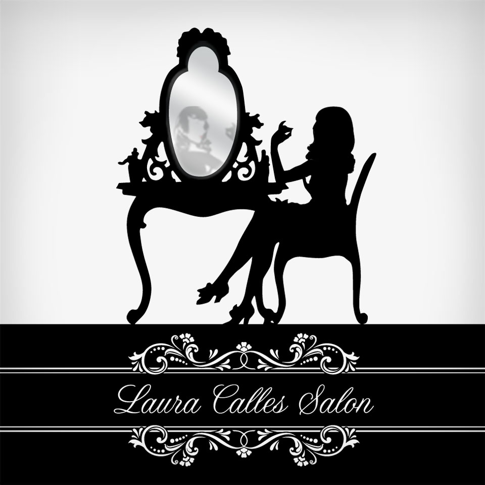 An elegant, feminine, and ornate antiqued style logo, look, and theme for a local hair salon in San Diego.