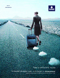 Print ad campaign for Samsonite released to consumer travel publications nationwide.