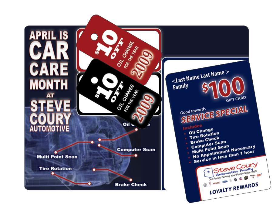 Die-cut plastic postcard mailer design with pop-out key chain tags and pop-out gift card using variable data printing for customer details.