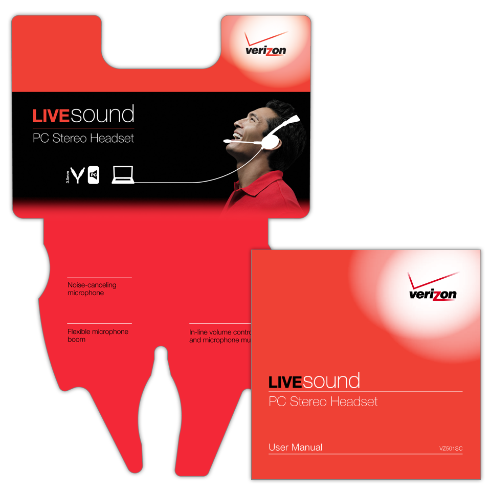 A 5-color product clamshell package insert for the Verizon LiveSound PC Stereo Headset with a 16 page user manual booklet in both English and Spanish.
