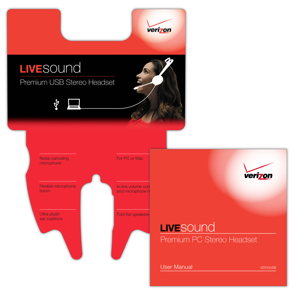 A 5-color product clamshell package insert for Verizon LiveSound USB Stereo Headset with a 22 page user manual in English and Spanish.