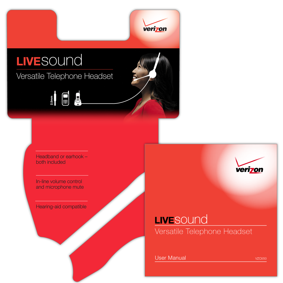 A 5-color product clamshell package insert for Verizon LiveSound Versatile Telephone Headset with a 16 page user manual in English and Spanish.